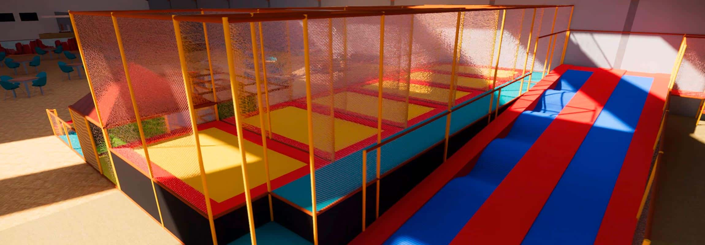 Indoorspielplatz-Trampolin-Rollenrutsche